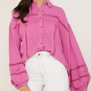 Free People Puffy Sleeve Button Up Top NWT